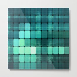 Techno Aqua Pattern Metal Print