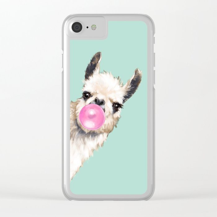 Bubble Gum Sneaky Llama in Green Clear iPhone Case