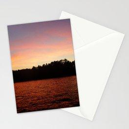 Orange Sunset On Lake Color Photo Stationery Cards