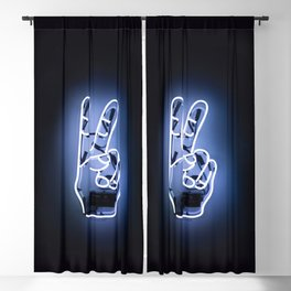 Peace Sign Hand Neon Sign Blackout Curtain