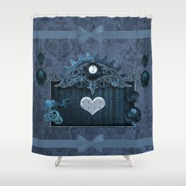 A touch of steampunk with elegant heart Shower Curtain