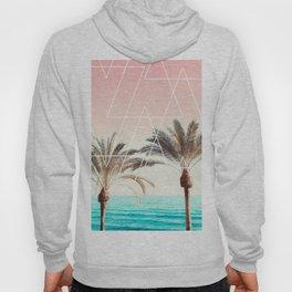 Modern tropical palm tree sunset pink blue beach photography white geometric triangles Hoody