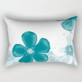 Retro 70s Flowers Turquoise Rectangular Pillow
