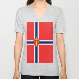 Flag of Norway Scandinavian Cross and Coat of Arms Unisex V-Neck