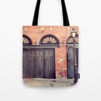 doors Tote Bags featuring Black Doors by Erin Johnson