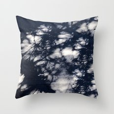 Navy Blue Pine Tree Shadows on Cement Throw Pillow