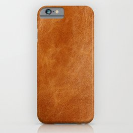 Rustic ginger smooth natural brown leather, vintage nature texture iPhone Case