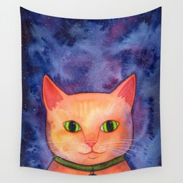 Ginger Cat in Space Wall Tapestry