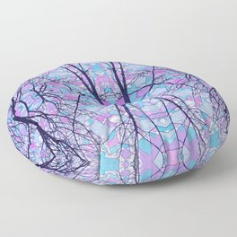 Abstract Pink and Blue Tree Design 1465 Floor Pillow