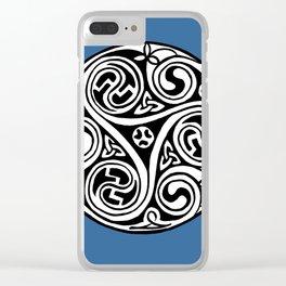 Celtic Art - Triskele - on Blue Clear iPhone Case