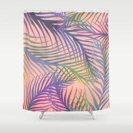 Palm Leaves Pattern - Purple, Peach, Blue Shower Curtain