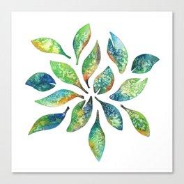 Watercolor floral leaf pattern Canvas Print