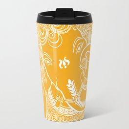 Ganesha Lineart Yellow White Travel Mug