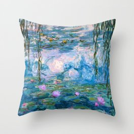 Water Lilies Monet Teal Throw Pillow