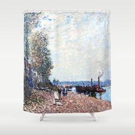 Alfred Sisley - Le remorqueur sur le Loing à Saint-Mammès Shower Curtain