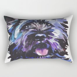 Fun Black Cairn Terrier bright colorful Pop Art Dog Portrait by LEA Rectangular Pillow