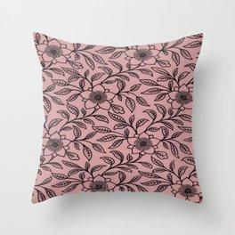 Vintage Lace Floral Bridal Rose Throw Pillow