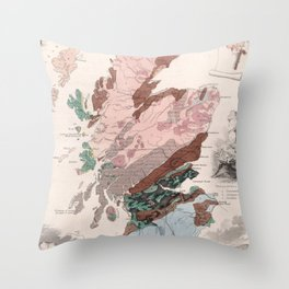 Vintage Geological Map of Scotland (1850) Throw Pillow
