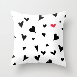 black hearts with one pink one  Throw Pillow