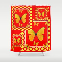 YELLOW BUTTERFLIES RED-YELLOW  PATTERNED  ART Shower Curtain