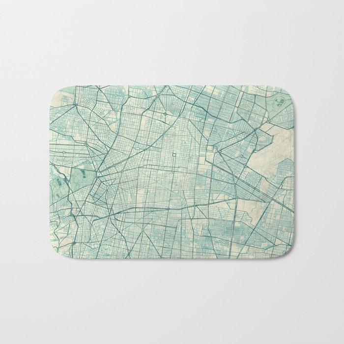 Mexico City Map Blue Vintage Bath Mat