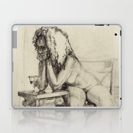 'The Unwinding' Charcoal Drawing Nude woman drinking Wine Laptop & iPad Skin
