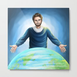 Jesus Christ Saves the World Metal Print