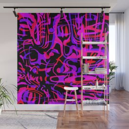 Chaotic scribbles in pink friday tons on black. Wall Mural