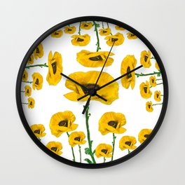 YELLOW POPPIES FLOWER ON WHITE Wall Clock