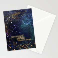 Leave a little sparkle wherever you go - gold glitter Typography on dark space backround Stationery Cards