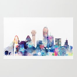 Blue Watercolor Dallas skyline design Rug