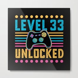 Gaming Level 33 Unlocked 33rd Birthday Gamer Gift Metal Print