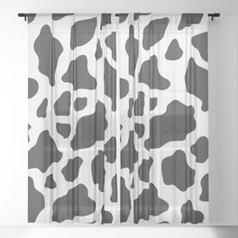 Black and White Cow Print Sheer Curtain