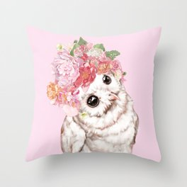 Snowy Owl with Flowers Crown Throw Pillow