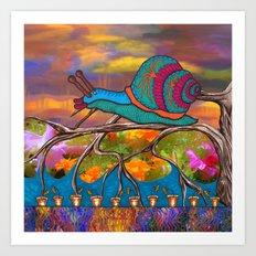Doodlage 09 - It's A Snails Life Art Print