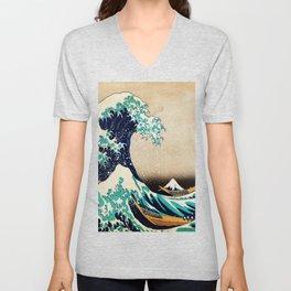 The Great Wave Off Kanagawa Traditional Japanese Landscape Unisex V-Neck