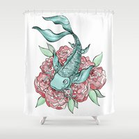 koi fish Shower Curtains featuring Koi Fish by Bare Wolfe