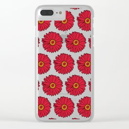 Red Gerbera Daisy Floral Print Pattern Clear iPhone Case