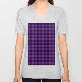 Purple Plaid Unisex V-Neck