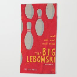 The Big Lebowski - Movie Poster, Coen brothers film, Jeff Bridges, John Turturro, bowling Beach Towel