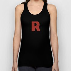 Letter R on Black Unisex Tank Top
