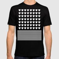 Heart Stripes White on Black Black Mens Fitted Tee MEDIUM