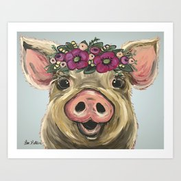 Pig Painting, Flower Crown Pig, Cute Farm Animal Art Print