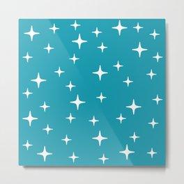 Mid Century Modern Star Pattern 443 Turquoise Metal Print