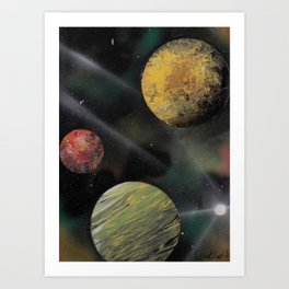 Planets in Space - Spray Paint Art Art Print