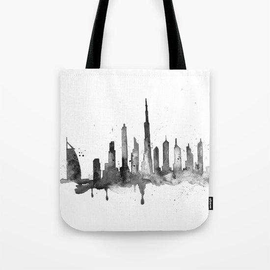 Dubai, black and white art Tote Bag