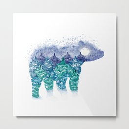 Polar Bear Pine Trees and Snow Metal Print