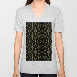Cubes Pattern Gold and Black Unisex V-Neck