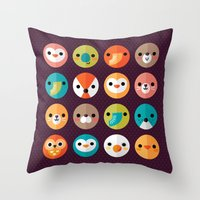 monika strigel Throw Pillows featuring SMILEY FACES 1 by Daisy Beatrice