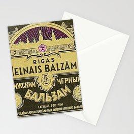 Vintage 1950 Rigas Melnais Balzams Wine Bottle Pink-Fushia Label Stationery Cards